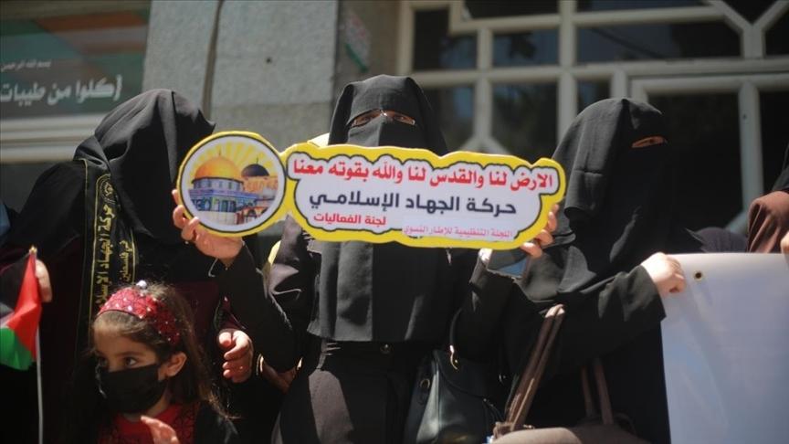 Gazzeli kadınlardan Doğu Kudüs'teki Filistinlilere destek gösterisi