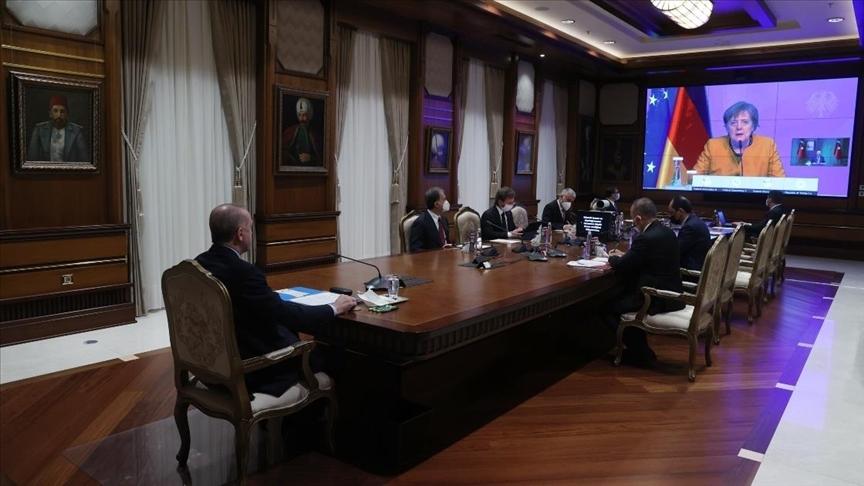 Cumhurbaşkanı Erdoğan, Almanya Başbakanı Merkel ile video konferans görüşmesi yaptı