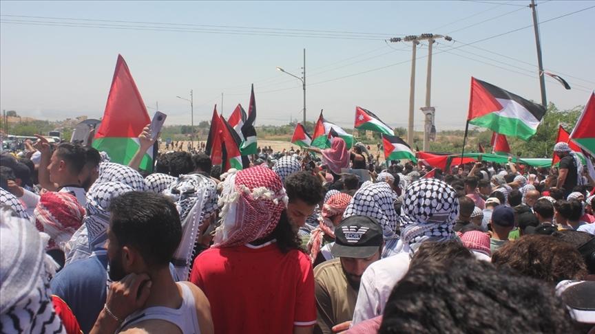 Ürdün'ün birçok kentinde Filistin'e destek gösterileri düzenlendi