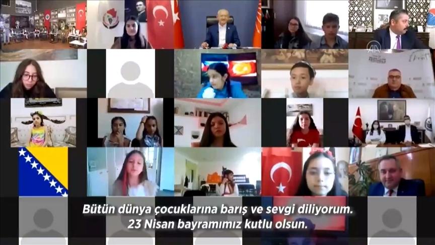 CHP Genel Başkanı Kılıçdaroğlu, 23 Nisan dolayısıyla çocuklarla çevrim içi bayramlaştı