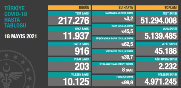 Türkiye'de son 24 saatte 11 bin 937 yeni vaka!