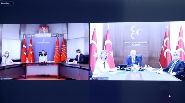 MHP heyeti CHP heyetiyle video konferans aracılığıyla bayramlaştı